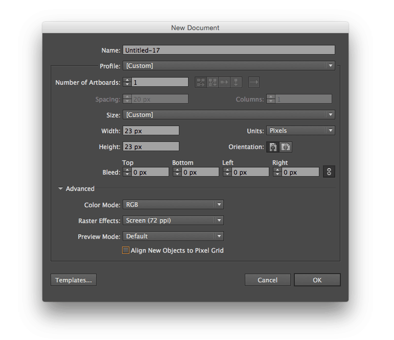 Adobe Illustrator CC - New Document