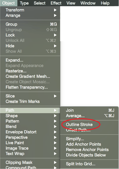 Adobe Illustrator CC -Outline Menu