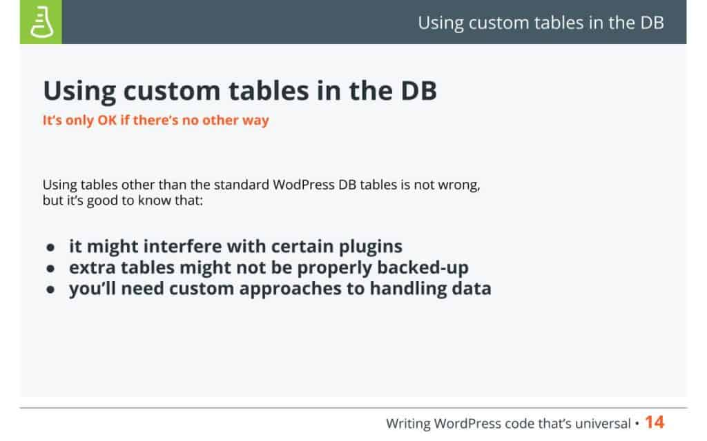 Using custom tables in the Database