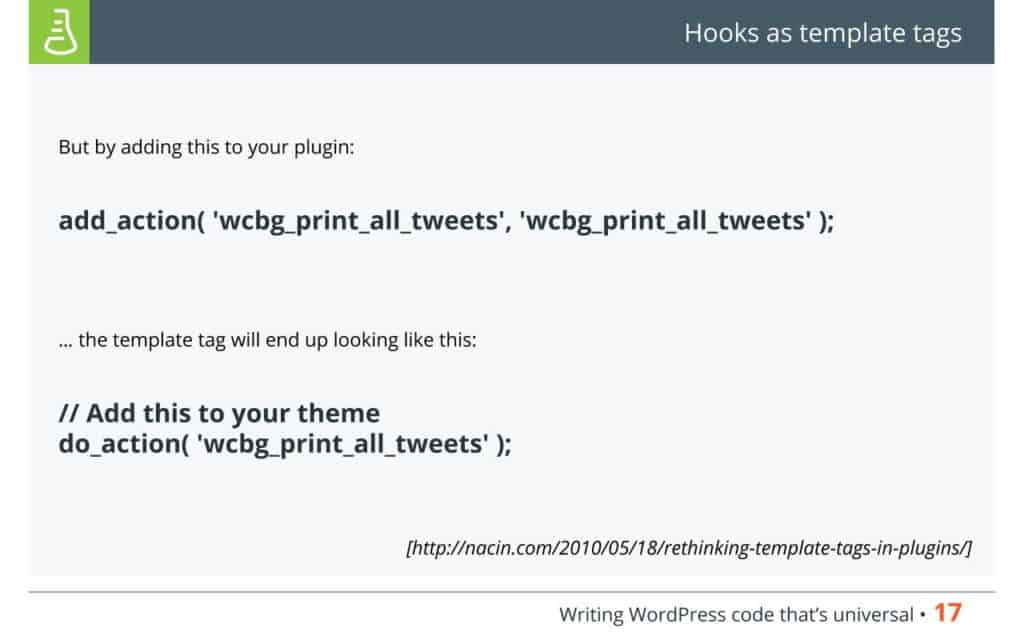 WordPress Code - Hook as template tags