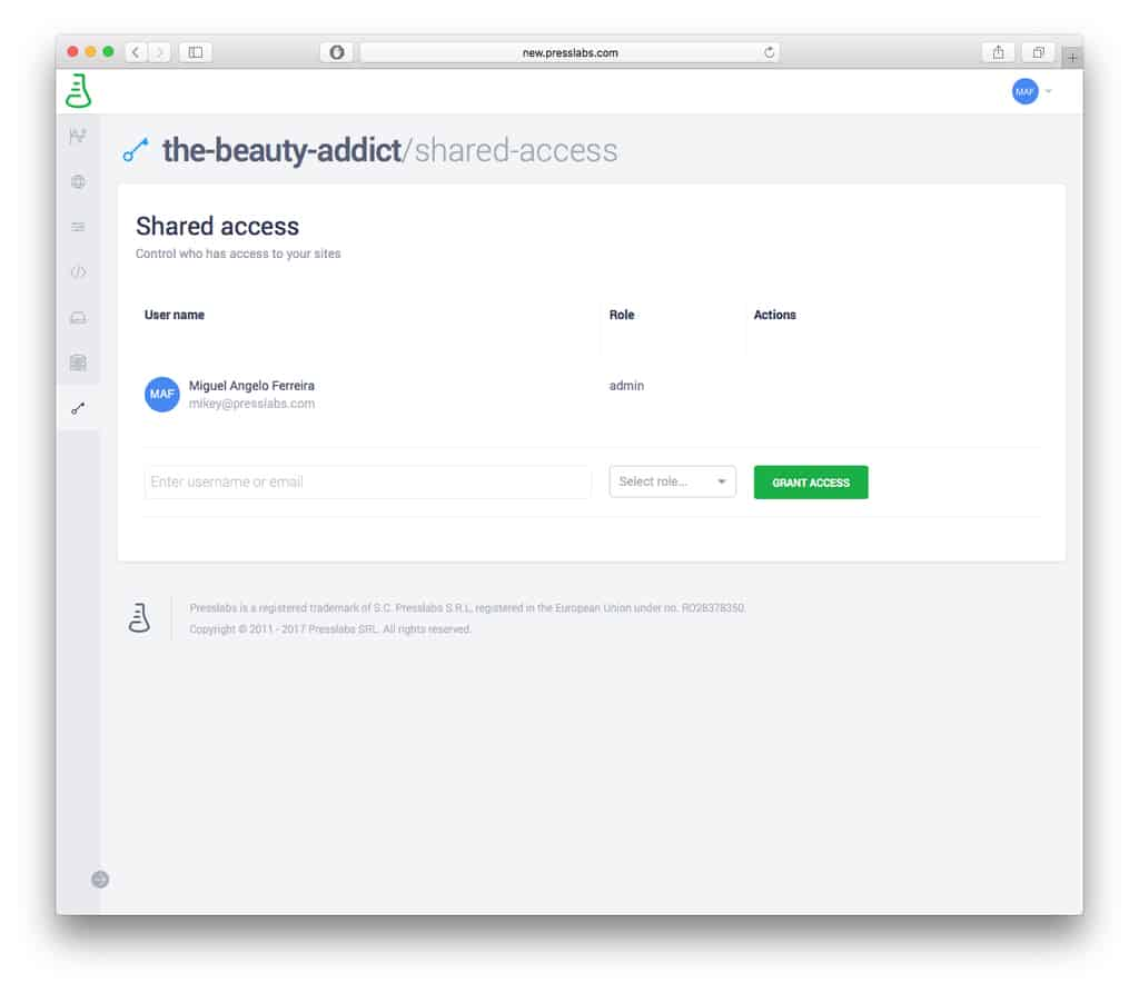 Presslabs Dashboard - Shared Access Feature