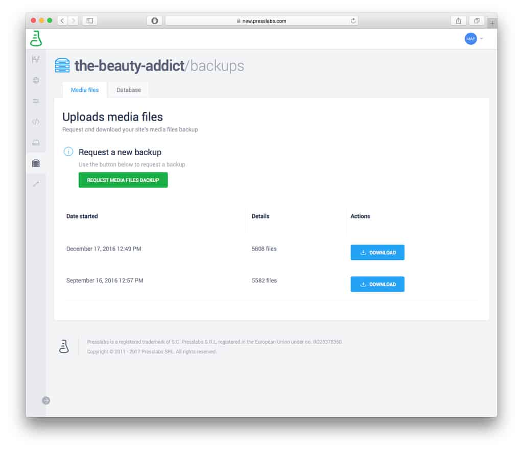 Presslabs  Dashboard - Backups feature
