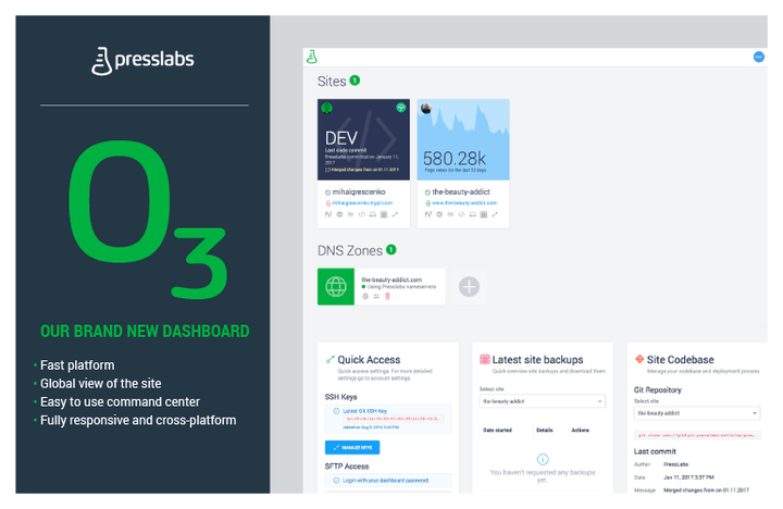 The new Presslabs Dashboard
