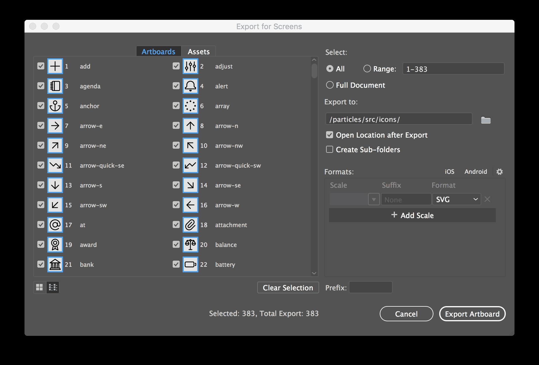 Adobe Illustrator - Export the icon