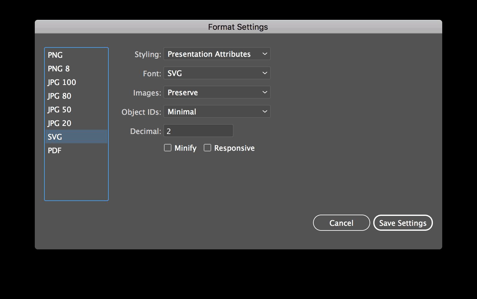 Adobe Illustrator - Format Settings