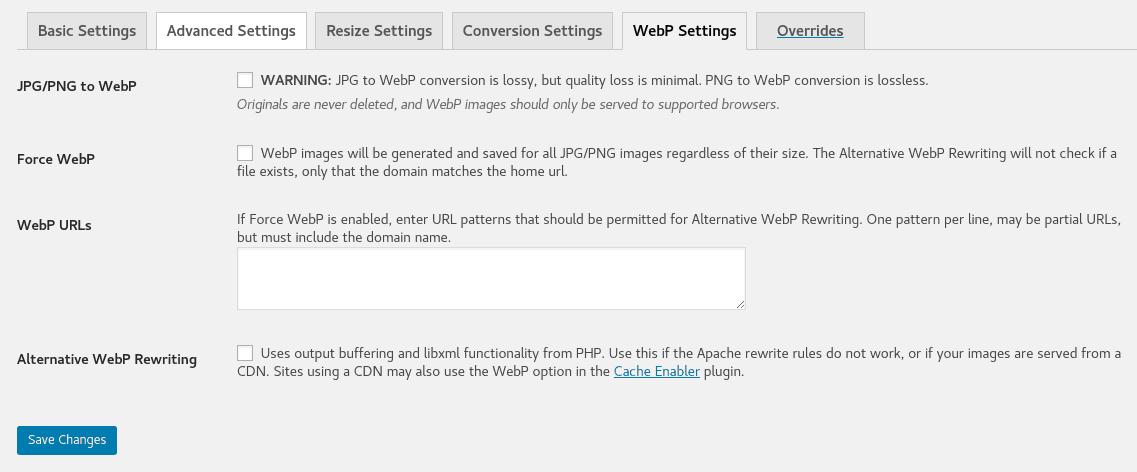 ewww_settings5.png ewww image optimizer cloud-WebP settings