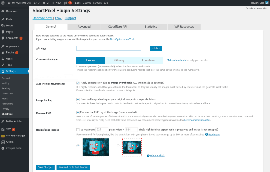ShortPixel settings plugin