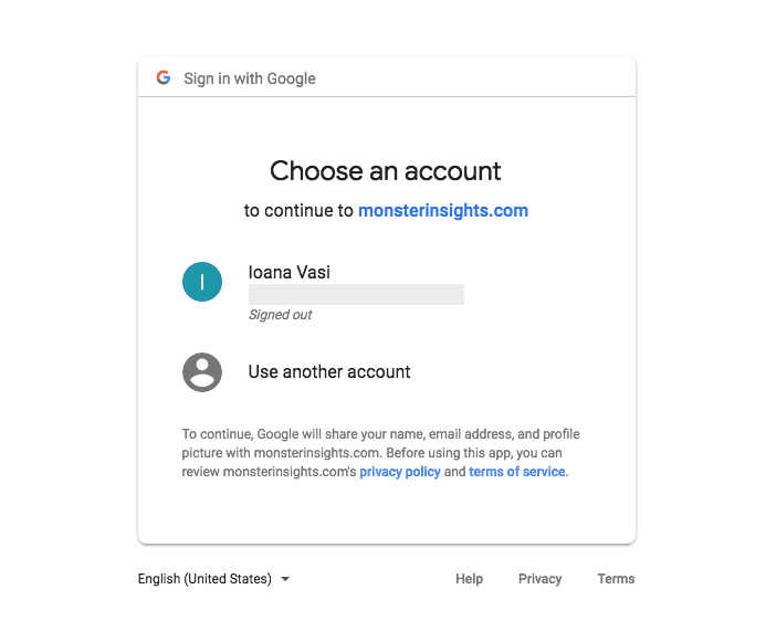 MonsterInsights- Choose an account