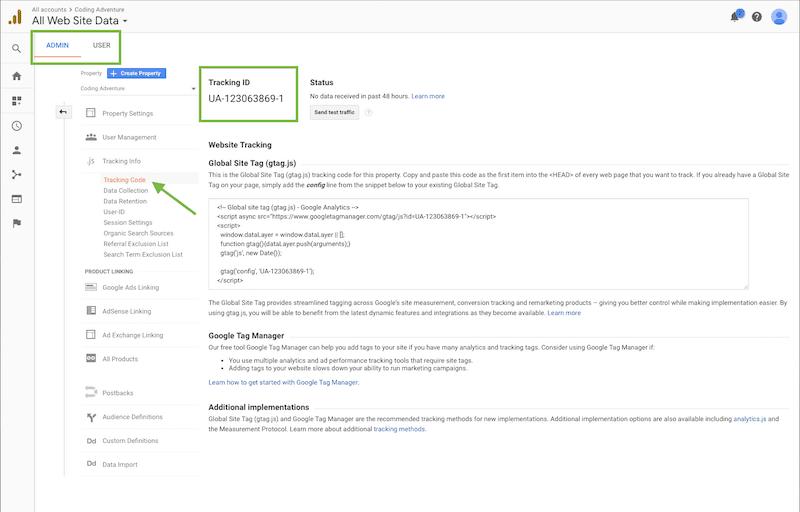 Google Analytics - Google Tracking ID