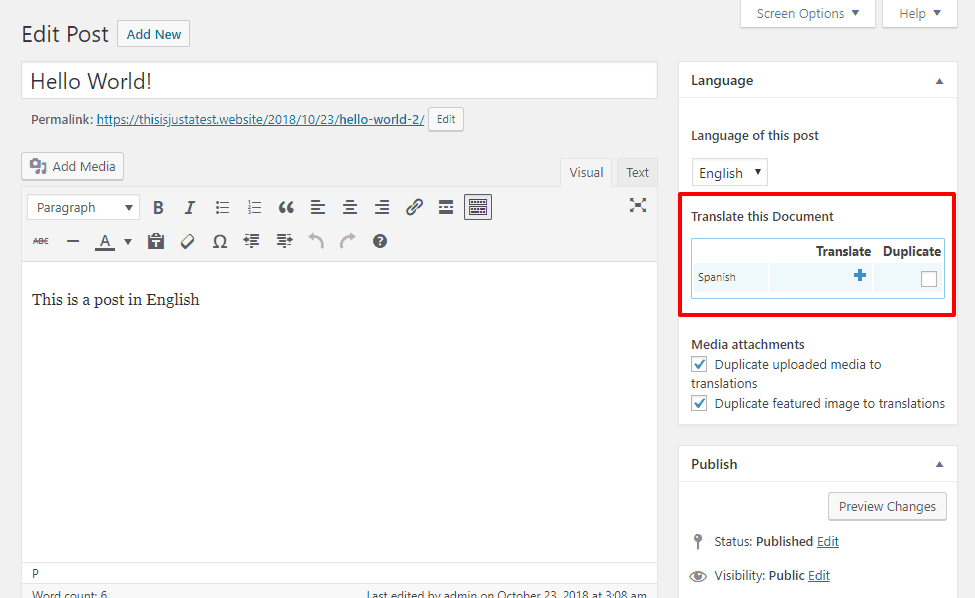 WPML interface
