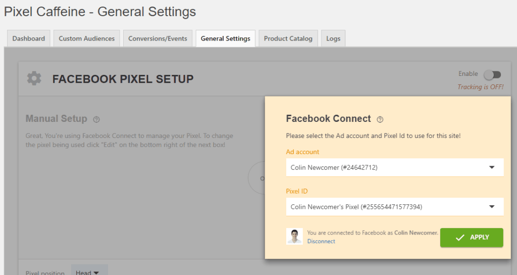 Connect to facebook account