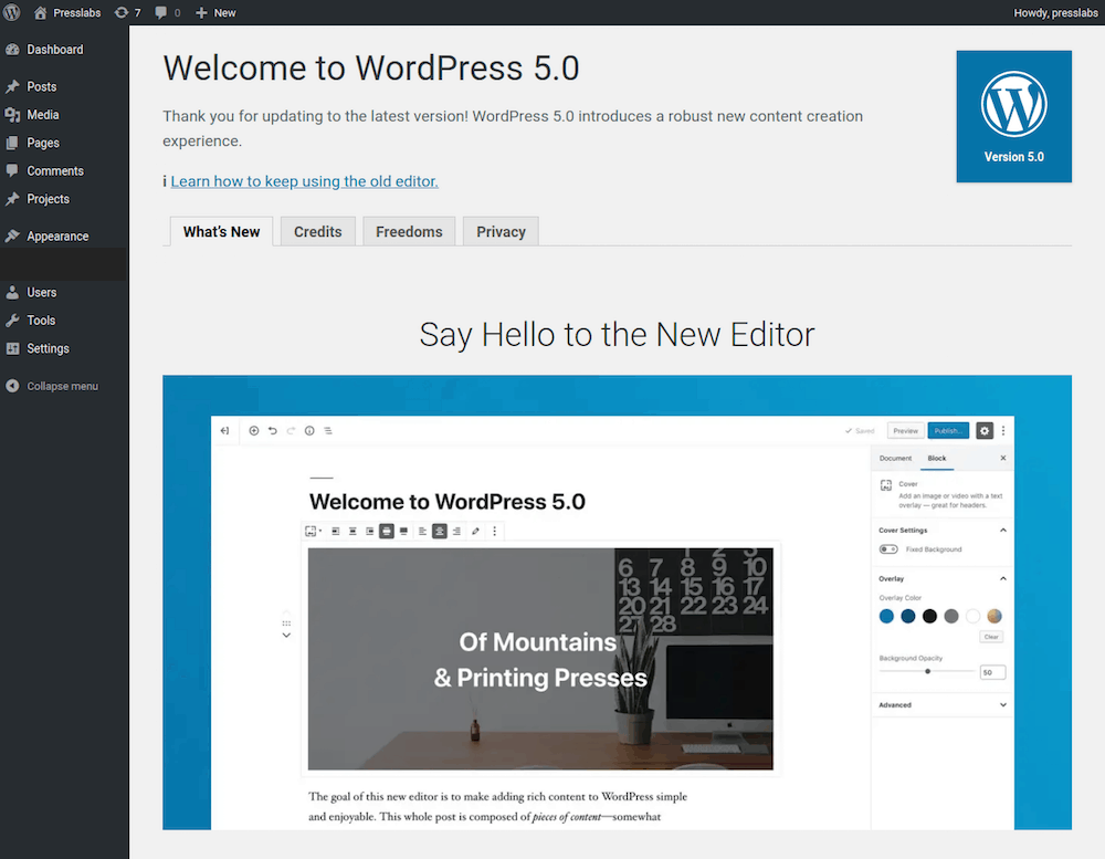 WordPress 5.0 Upgrade Scheduled for 2019 on Presslabs