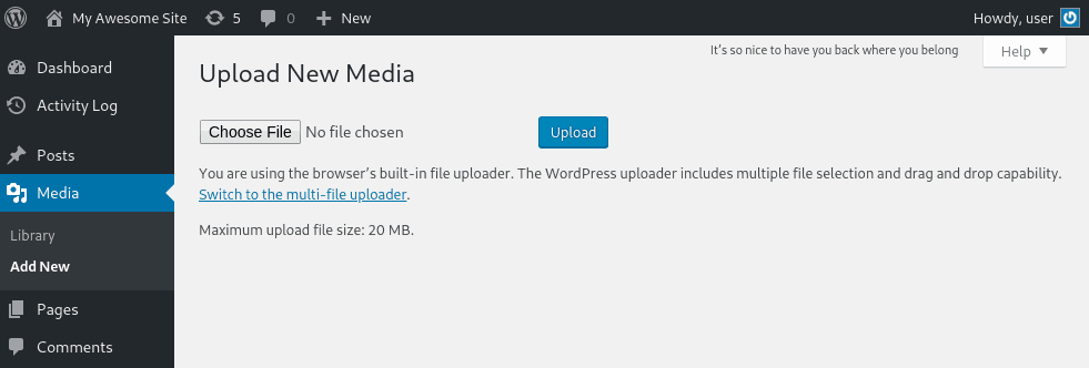 Use the browser's built-in file uploader