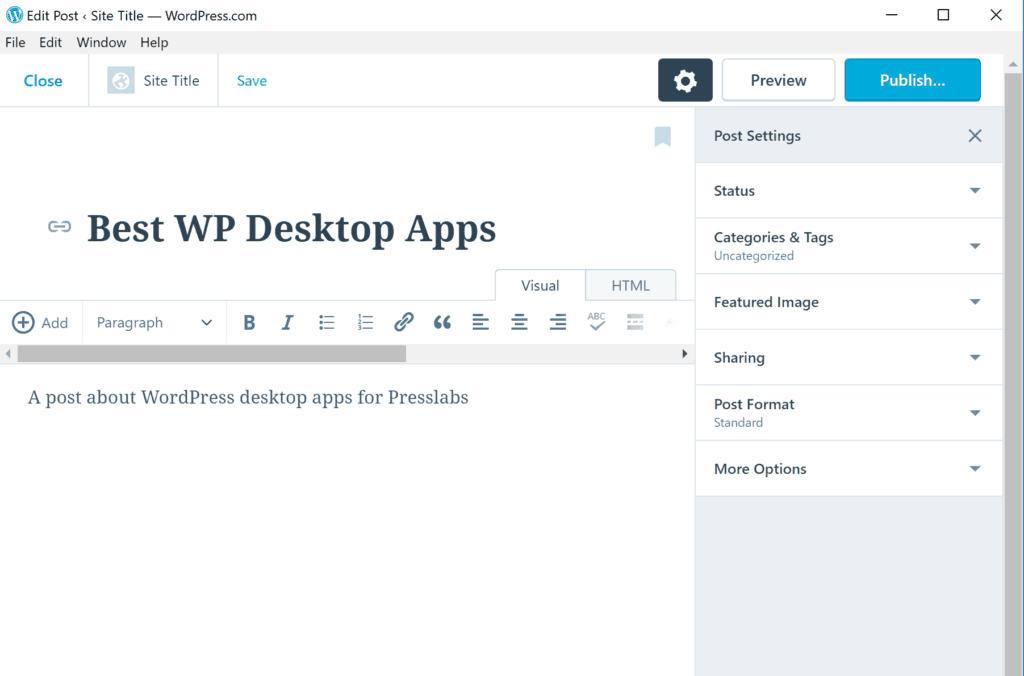 WordPress.com app editor
